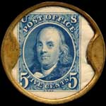 Timbre-monnaie Albert W.Ault type 1 - 5 cents - revers
